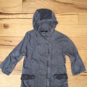 Max Jeans Distressed Gray Hooded Utility Jacket L